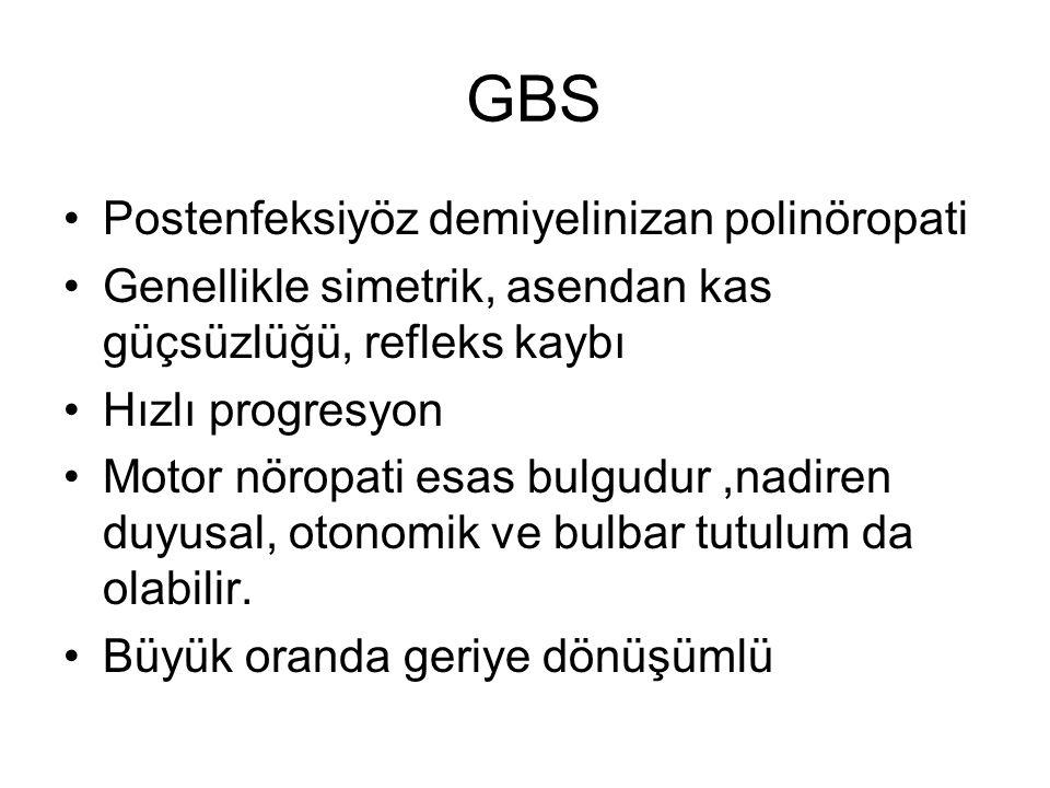 GBS Postenfeksiyöz demiyelinizan polinöropati Genellikle simetrik, asendan kas güçsüzlüğü, refleks kaybı Hızlı progresyon Motor nöropati esas bulgudur,nadiren duyusal, otonomik ve bulbar tutulum da olabilir.