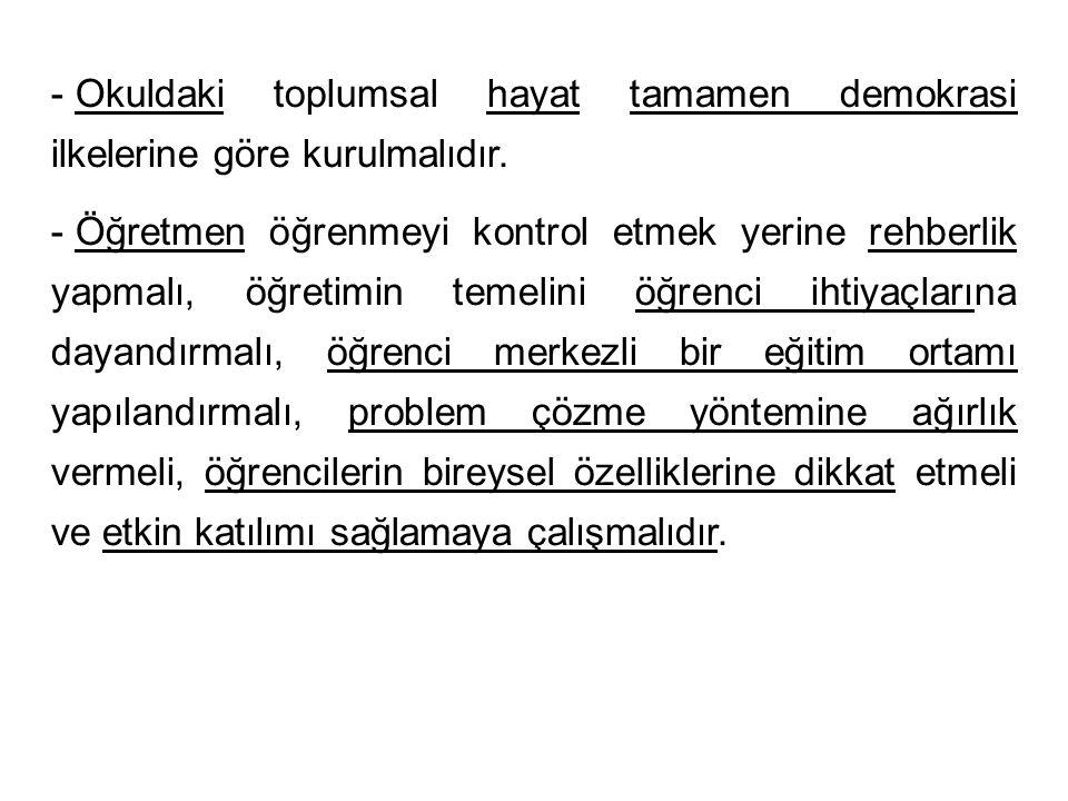 - Okuldaki toplumsal hayat tamamen demokrasi ilkelerine göre kurulmalıdır.