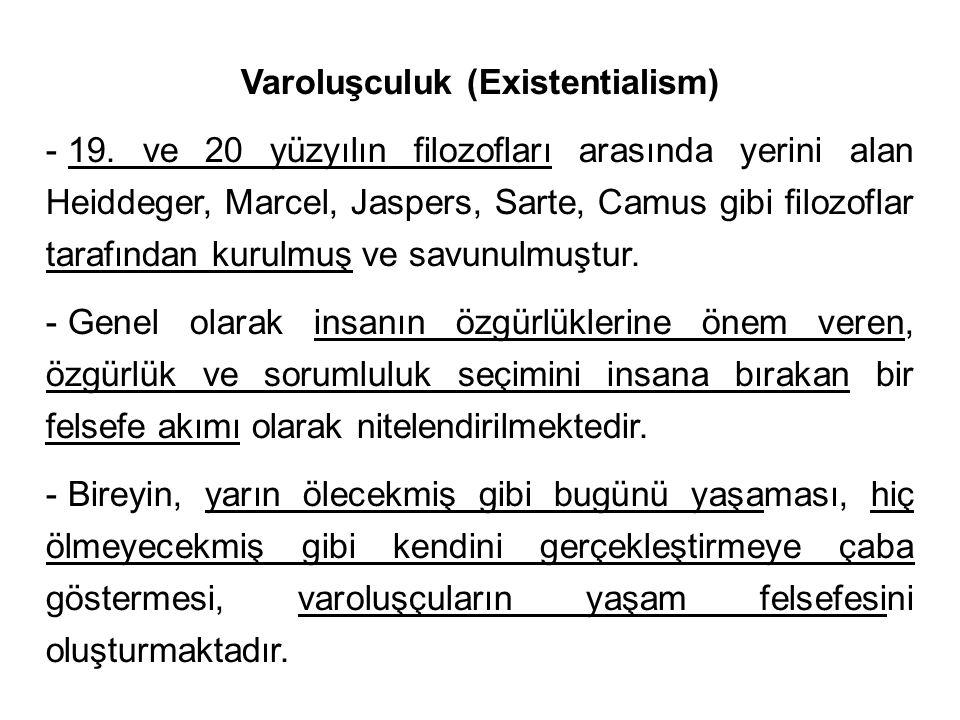 Varoluşculuk (Existentialism) - 19. ve 20 yüzyılın filozofları arasında yerini alan Heiddeger, Marcel, Jaspers, Sarte, Camus gibi filozoflar tarafında