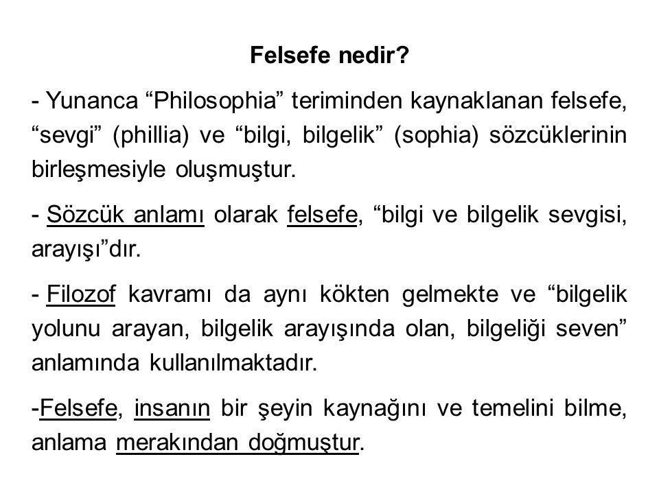- Felsefenin herkesin kabul edebileceği ortak bir tanımını yapmak güçtür.