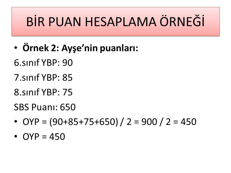 BİR PUAN HESAPLAMA ÖRNEĞİ Örnek 2: Ayşe'nin puanları: 6.sınıf YBP: 90 7.sınıf YBP: 85 8.sınıf YBP: 75 SBS Puanı: 650 OYP = (90+85+75+650) / 2 = 900 / 2 = 450 OYP = 450