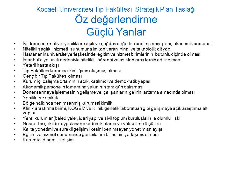 Kocaeli Üniversitesi Tıp Fakültesi Stratejik Plan Taslağı Öz değerlendirme Güçlü Yanlar İyi derecede motive, yeniliklere açık ve çağdaş değerleri beni