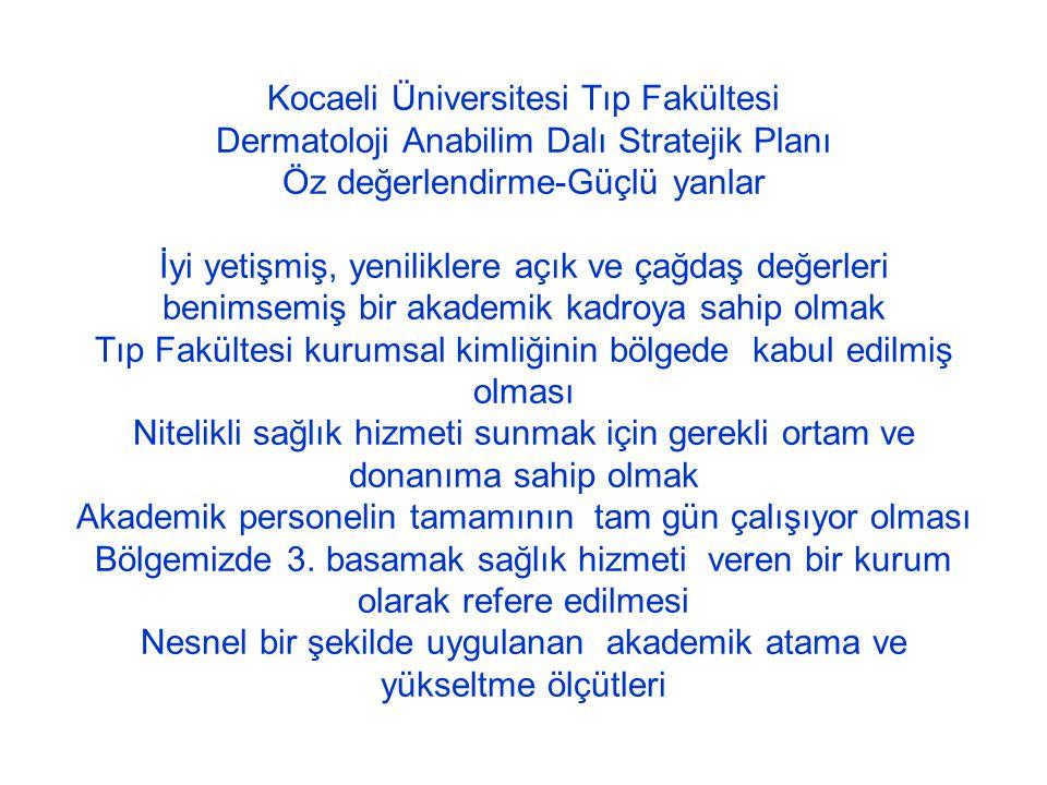 Kocaeli Üniversitesi Tıp Fakültesi Dermatoloji Anabilim Dalı Stratejik Planı Öz değerlendirme-Güçlü yanlar İyi yetişmiş, yeniliklere açık ve çağdaş de