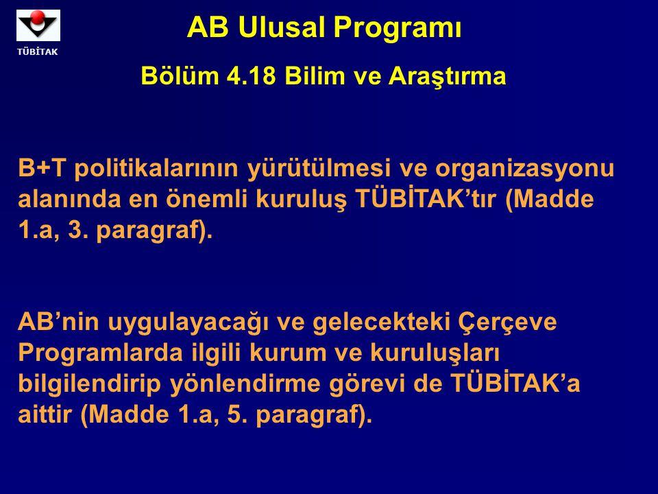 TÜBİTAK AB Ulusal Programı Bölüm 4.18 Bilim ve Araştırma B+T politikalarının yürütülmesi ve organizasyonu alanında en önemli kuruluş TÜBİTAK'tır (Madd