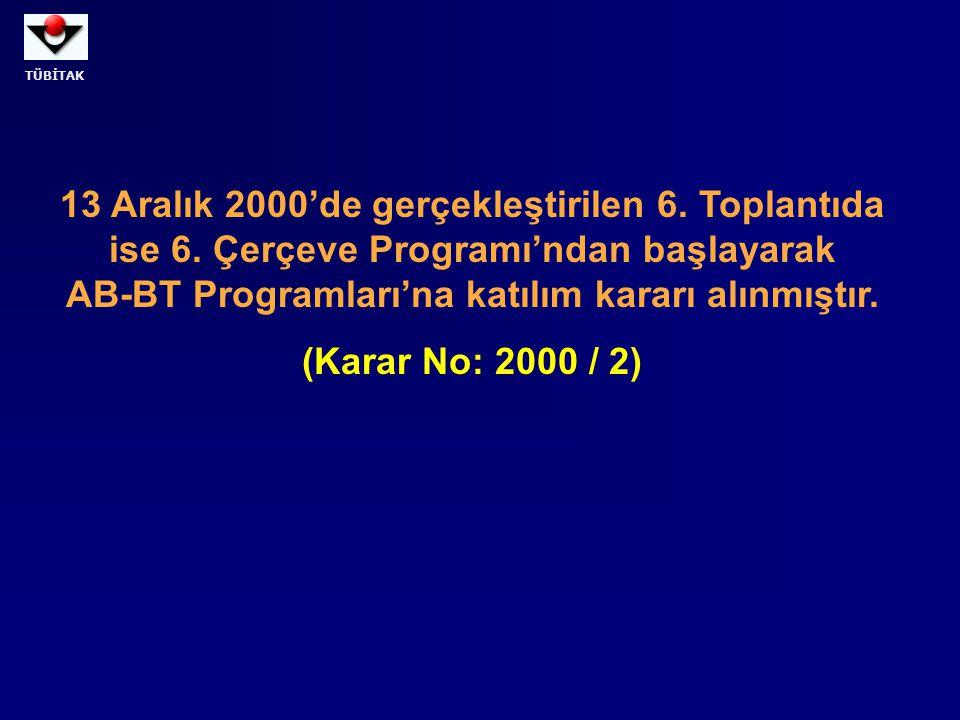 TÜBİTAK 13 Aralık 2000'de gerçekleştirilen 6. Toplantıda ise 6. Çerçeve Programı'ndan başlayarak AB-BT Programları'na katılım kararı alınmıştır. (Kara