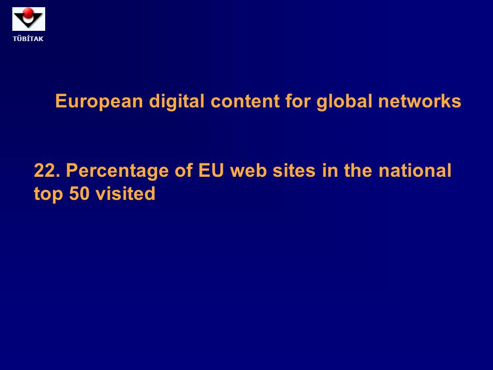 TÜBİTAK European digital content for global networks 22. Percentage of EU web sites in the national top 50 visited