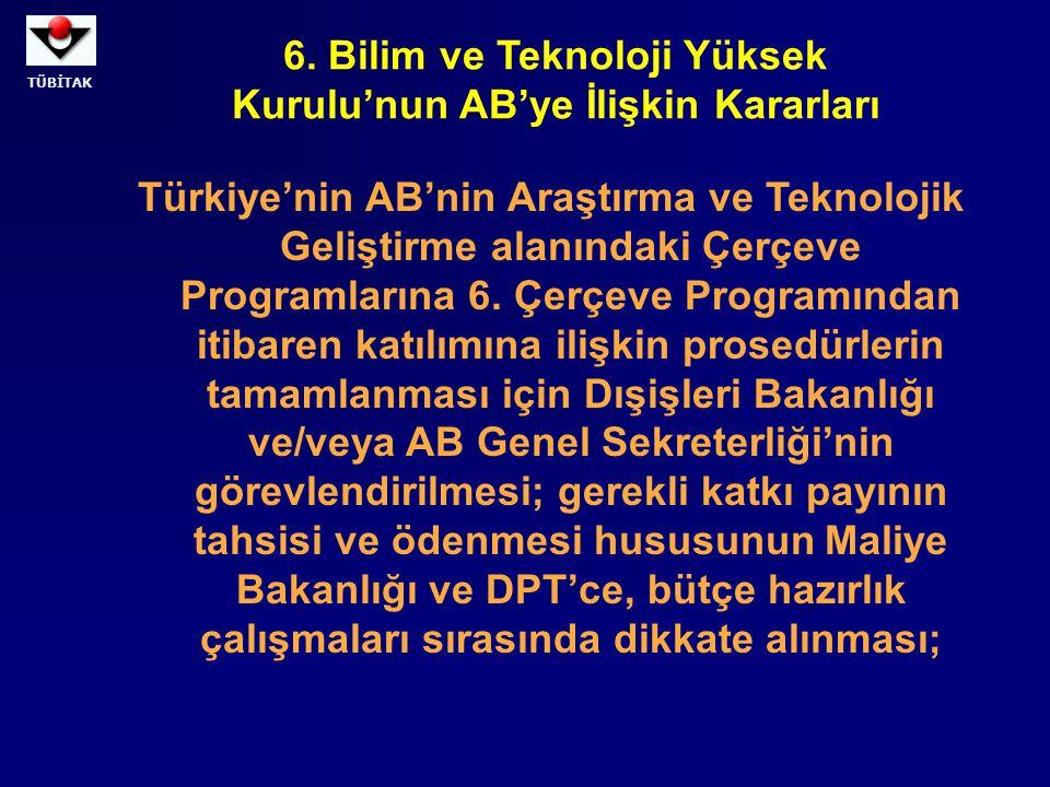 TÜBİTAK Avrupa Birliği'nin Türkiye'nin katılımına açtığı, sınırlı süreli, Eğitim Programlarından SOCRATES, LEONARDO, YOUTH (GENÇLİK) ve ileride olabilecek benzeri kapsamdaki programlardan etkin bir şekilde faydalanmak için alınması gereken tedbirlerin oluşturulması amacıyla, Türkiye'de beşeri gücün yetiştirilmesinden sorumlu kurumlar olan MEB, YÖK, TÜBİTAK ile AB Genel Sekreterliği'nin, Başbakanlığa sunulmak üzere bir rapor hazırlamaları; 6.