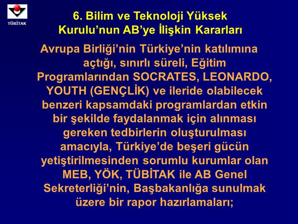 TÜBİTAK Avrupa Birliği'nin Türkiye'nin katılımına açtığı, sınırlı süreli, Eğitim Programlarından SOCRATES, LEONARDO, YOUTH (GENÇLİK) ve ileride olabil
