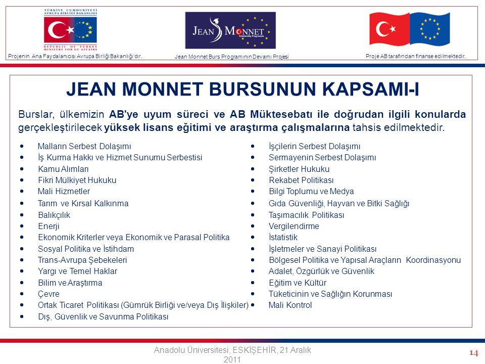 14 JEAN MONNET BURSUNUN KAPSAMI-I Burslar, ülkemizin AB ye uyum süreci ve AB Müktesebatı ile doğrudan ilgili konularda gerçekleştirilecek yüksek lisans eğitimi ve araştırma çalışmalarına tahsis edilmektedir.
