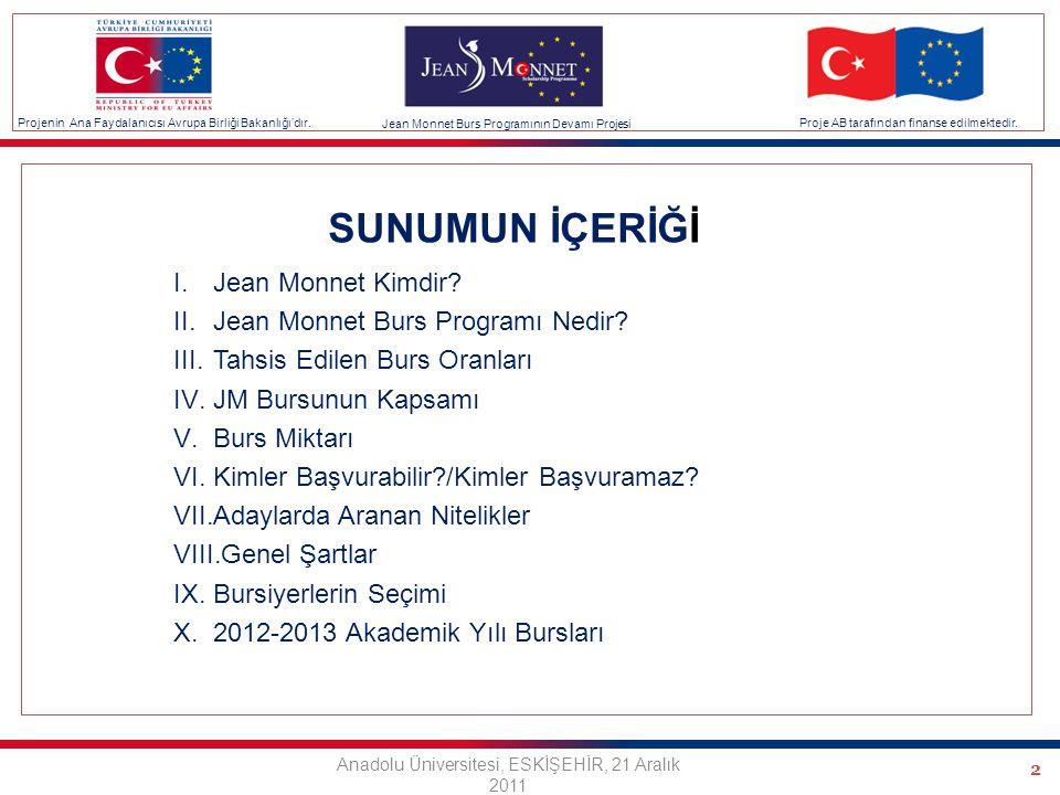 2 SUNUMUN İÇERİĞİ I.Jean Monnet Kimdir. II.Jean Monnet Burs Programı Nedir.