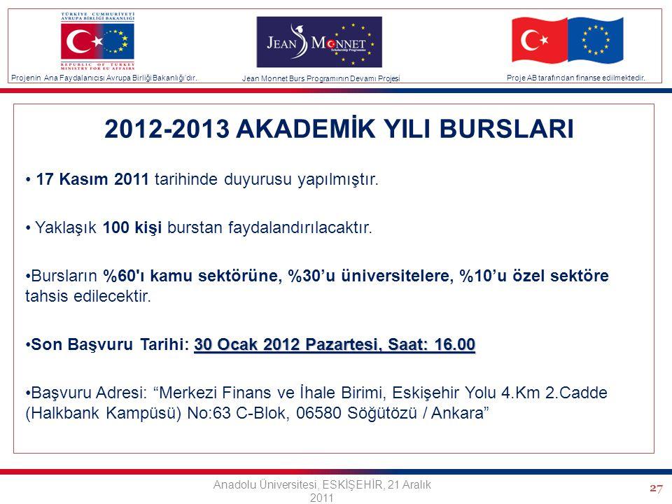 27 2012-2013 AKADEMİK YILI BURSLARI 17 Kasım 2011 tarihinde duyurusu yapılmıştır.