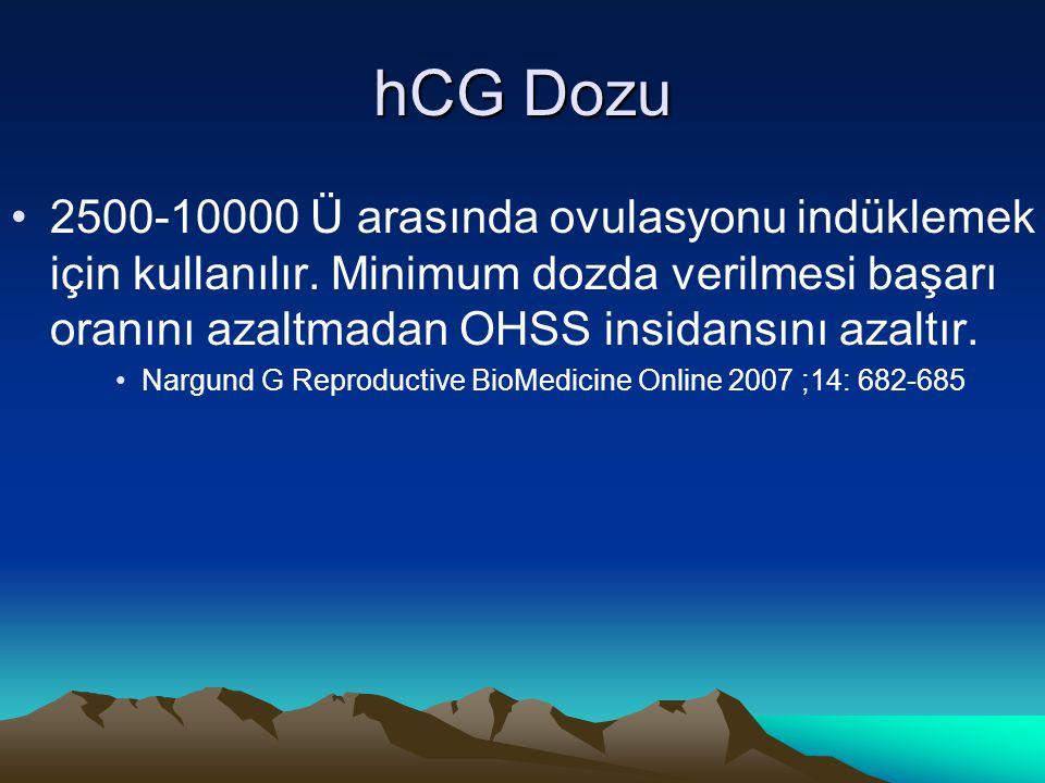 hCG Dozu 2500-10000 Ü arasında ovulasyonu indüklemek için kullanılır. Minimum dozda verilmesi başarı oranını azaltmadan OHSS insidansını azaltır. Narg