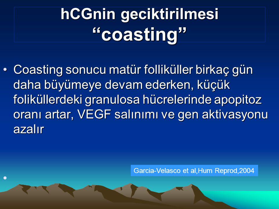 """hCGnin geciktirilmesi """"coasting"""" Coasting sonucu matür folliküller birkaç gün daha büyümeye devam ederken, küçük foliküllerdeki granulosa hücrelerinde"""