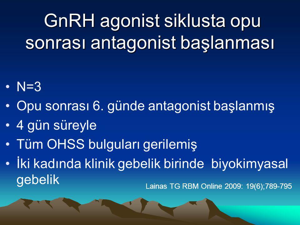 GnRH agonist siklusta opu sonrası antagonist başlanması GnRH agonist siklusta opu sonrası antagonist başlanması N=3 Opu sonrası 6. günde antagonist ba