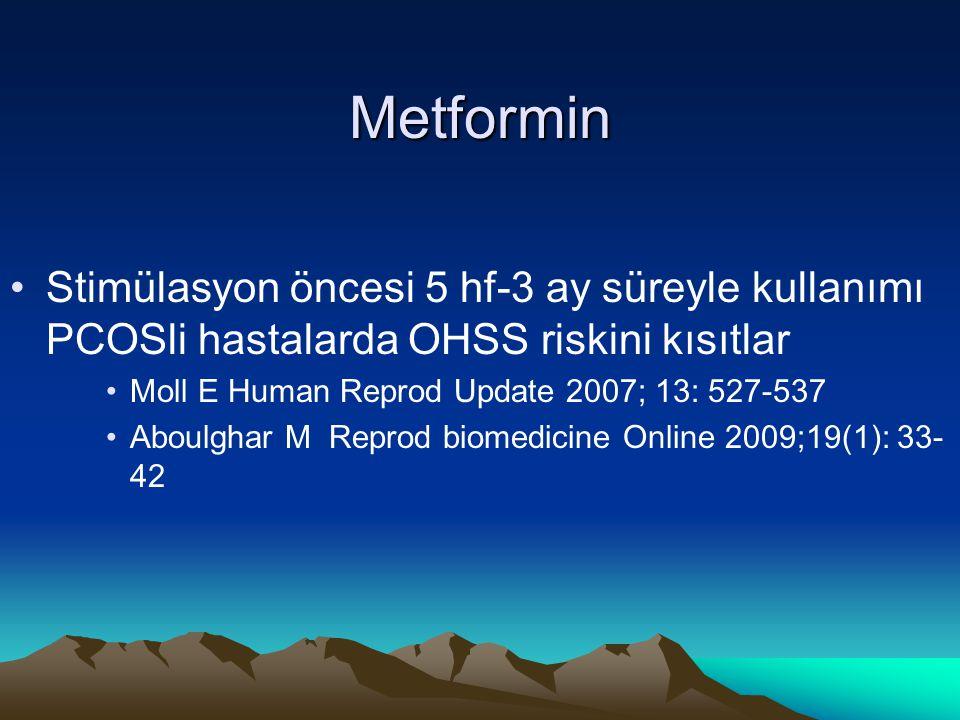 Metformin Stimülasyon öncesi 5 hf-3 ay süreyle kullanımı PCOSli hastalarda OHSS riskini kısıtlar Moll E Human Reprod Update 2007; 13: 527-537 Aboulgha