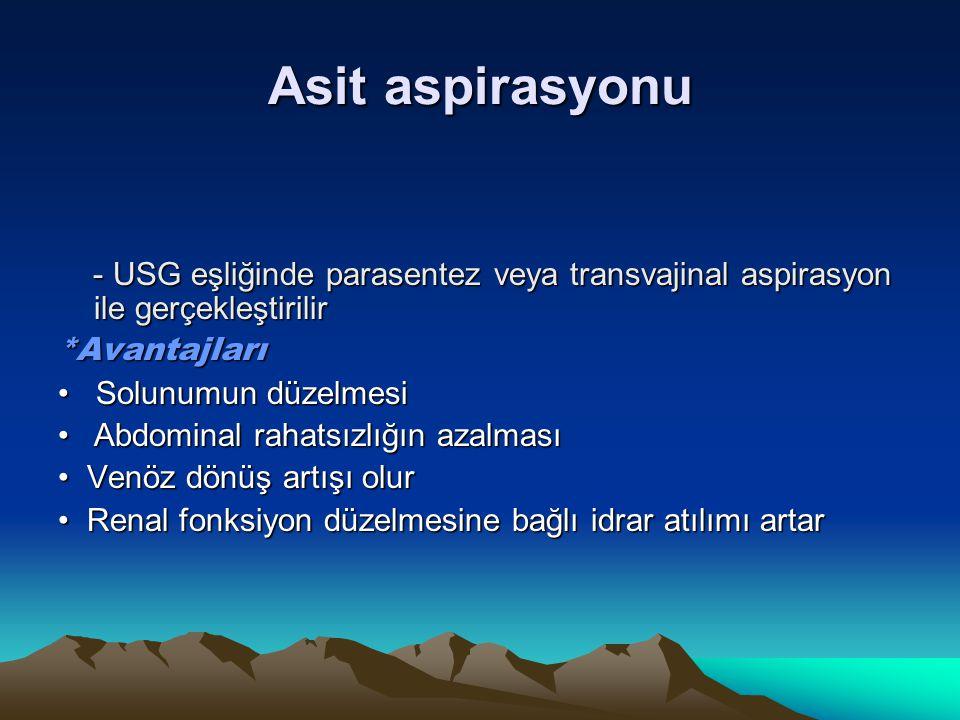 Asit aspirasyonu - USG eşliğinde parasentez veya transvajinal aspirasyon ile gerçekleştirilir - USG eşliğinde parasentez veya transvajinal aspirasyon