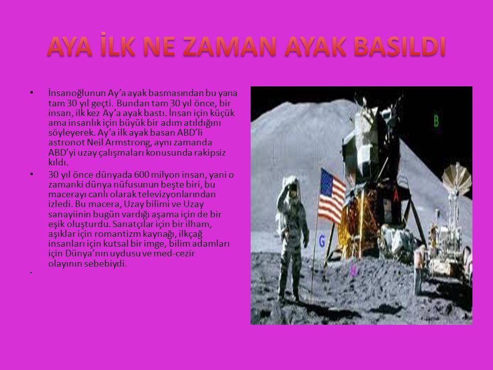 İnsanoğlunun Ay'a ayak basmasından bu yana tam 30 yıl geçti. Bundan tam 30 yıl önce, bir insan, ilk kez Ay'a ayak bastı. İnsan için küçük ama insanlık