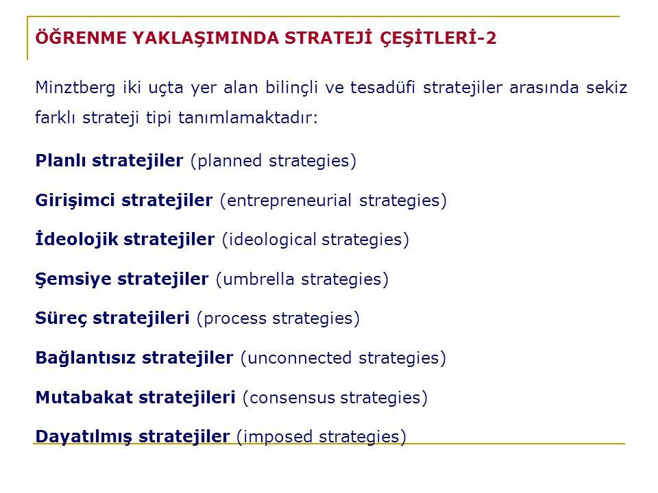ÖĞRENME YAKLAŞIMINDA STRATEJİ ÇEŞİTLERİ-2 Minztberg iki uçta yer alan bilinçli ve tesadüfi stratejiler arasında sekiz farklı strateji tipi tanımlamaktadır: Planlı stratejiler (planned strategies) Girişimci stratejiler (entrepreneurial strategies) İdeolojik stratejiler (ideological strategies) Şemsiye stratejiler (umbrella strategies) Süreç stratejileri (process strategies) Bağlantısız stratejiler (unconnected strategies) Mutabakat stratejileri (consensus strategies) Dayatılmış stratejiler (imposed strategies)