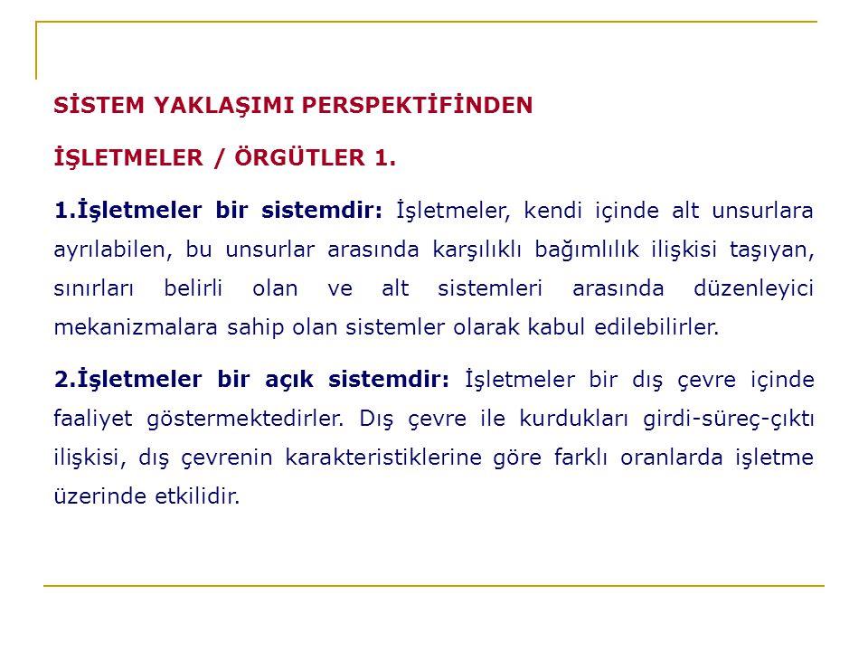 SİSTEM YAKLAŞIMI PERSPEKTİFİNDEN İŞLETMELER / ÖRGÜTLER 1.