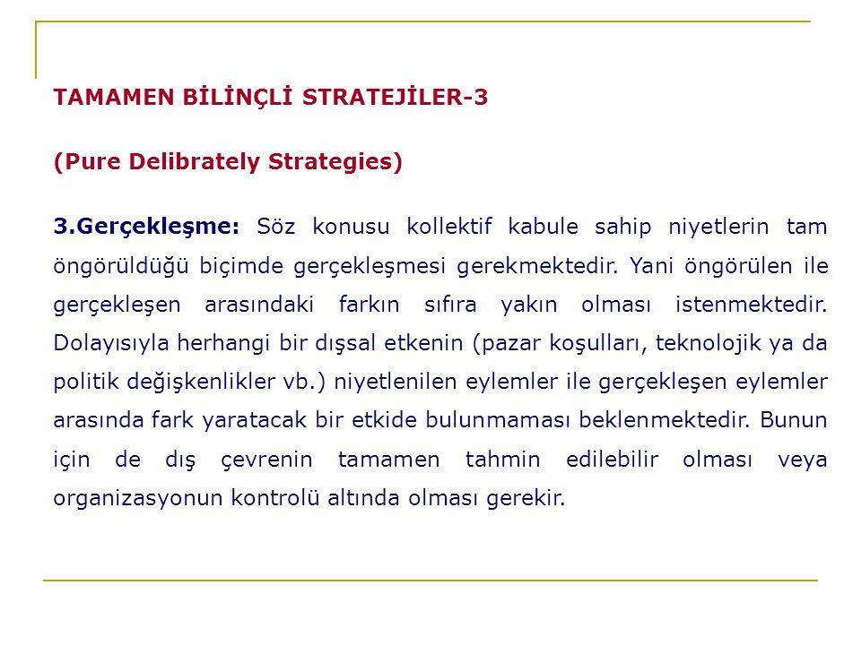 TAMAMEN BİLİNÇLİ STRATEJİLER-3 (Pure Delibrately Strategies) 3.Gerçekleşme: Söz konusu kollektif kabule sahip niyetlerin tam öngörüldüğü biçimde gerçekleşmesi gerekmektedir.