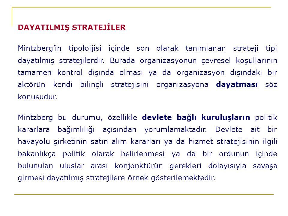 DAYATILMIŞ STRATEJİLER Mintzberg'in tipoloijisi içinde son olarak tanımlanan strateji tipi dayatılmış stratejilerdir.