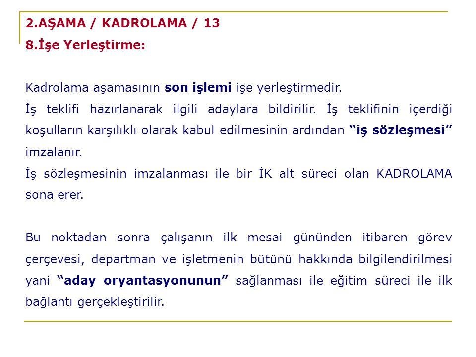 2.AŞAMA / KADROLAMA / 13 8.İşe Yerleştirme: Kadrolama aşamasının son işlemi işe yerleştirmedir.
