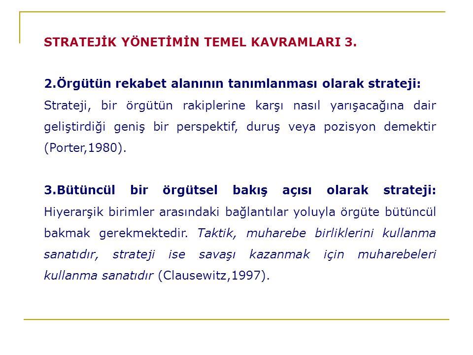 2.Örgütün rekabet alanının tanımlanması olarak strateji: Strateji, bir örgütün rakiplerine karşı nasıl yarışacağına dair geliştirdiği geniş bir perspektif, duruş veya pozisyon demektir (Porter,1980).