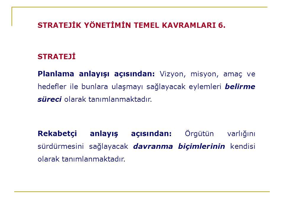 STRATEJİ Planlama anlayışı açısından: Vizyon, misyon, amaç ve hedefler ile bunlara ulaşmayı sağlayacak eylemleri belirme süreci olarak tanımlanmaktadır.
