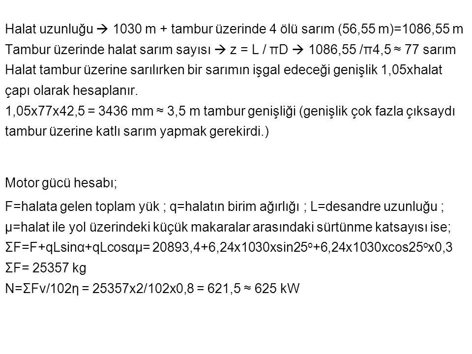 Halat uzunluğu  1030 m + tambur üzerinde 4 ölü sarım (56,55 m)=1086,55 m Tambur üzerinde halat sarım sayısı  z = L / πD  1086,55 /π4,5 ≈ 77 sarım H