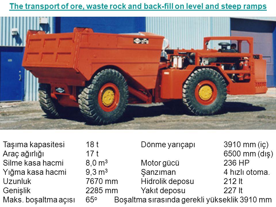 The transport of ore, waste rock and back-fill on level and steep ramps Taşıma kapasitesi18 tDönme yarıçapı3910 mm (iç) Araç ağırlığı17 t6500 mm (dış)