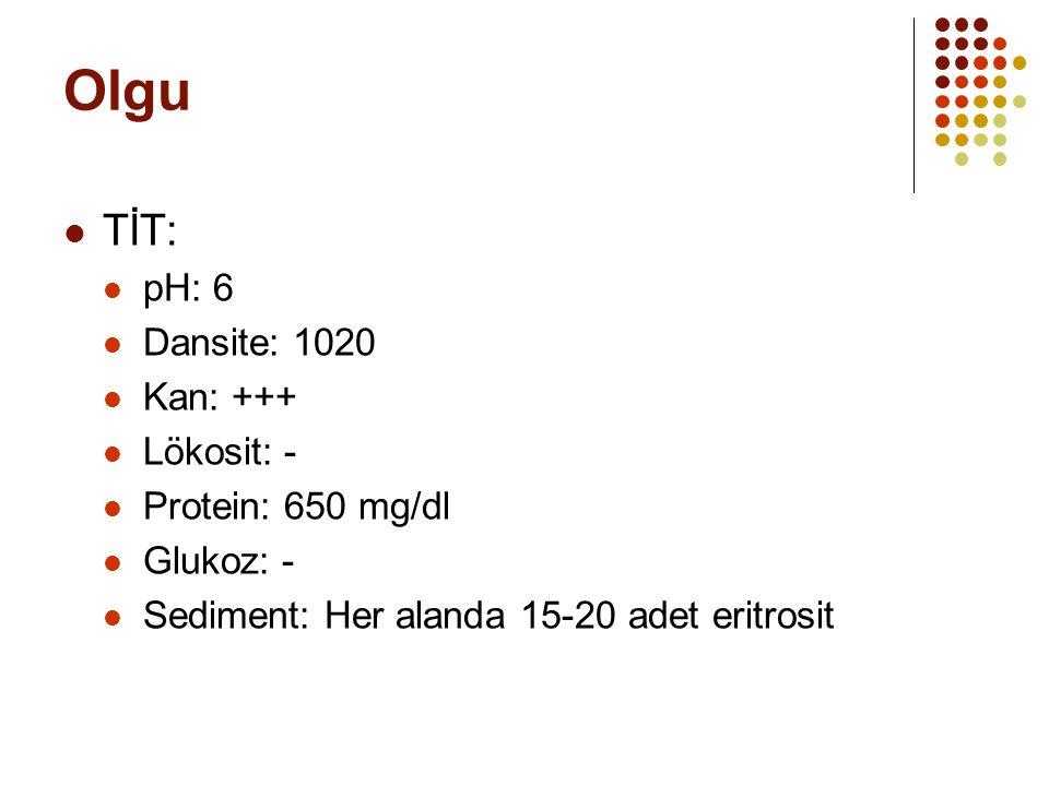 Olgu TİT: pH: 6 Dansite: 1020 Kan: +++ Lökosit: - Protein: 650 mg/dl Glukoz: - Sediment: Her alanda 15-20 adet eritrosit