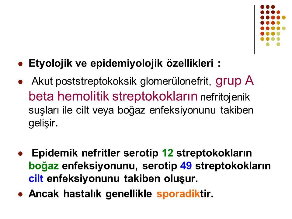 Etyolojik ve epidemiyolojik özellikleri : Akut poststreptokoksik glomerülonefrit, grup A beta hemolitik streptokokların nefritojenik suşları ile ciIt