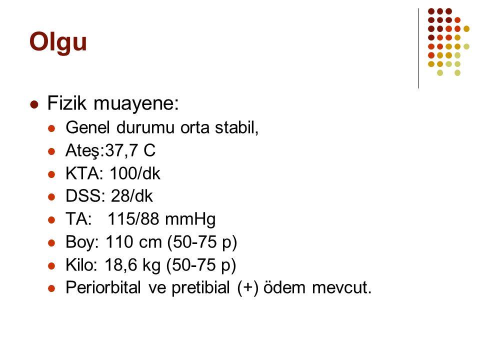 Olgu Fizik muayene: Genel durumu orta stabil, Ateş:37,7 C KTA: 100/dk DSS: 28/dk TA: 115/88 mmHg Boy: 110 cm (50-75 p) Kilo: 18,6 kg (50-75 p) Periorb