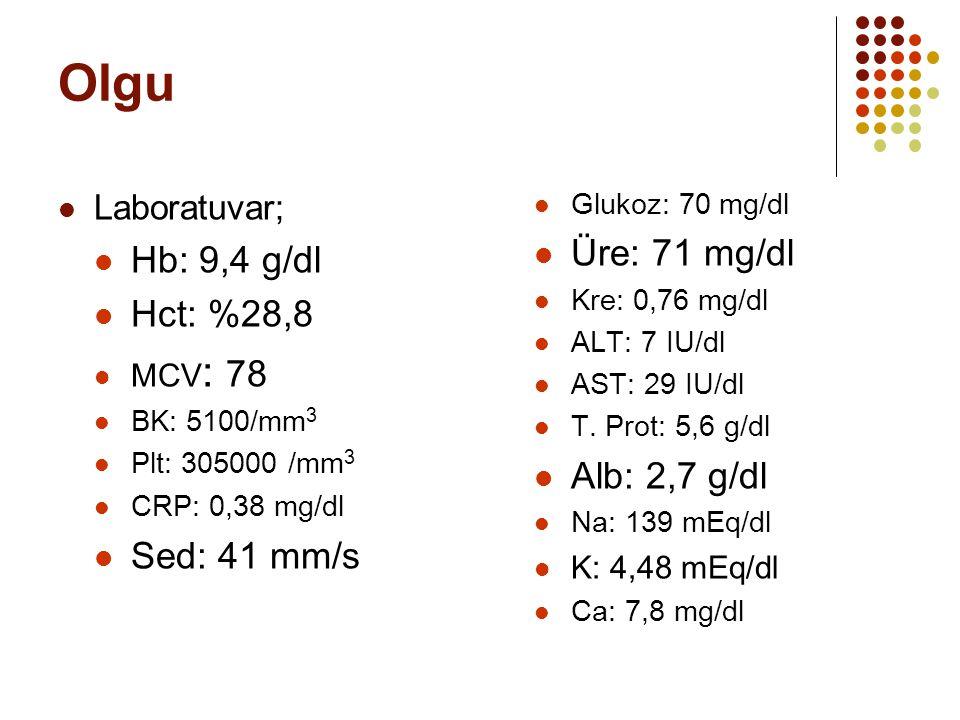 Olgu Laboratuvar; Hb: 9,4 g/dl Hct: %28,8 MCV : 78 BK: 5100/mm 3 Plt: 305000 /mm 3 CRP: 0,38 mg/dl Sed: 41 mm/s Glukoz: 70 mg/dl Üre: 71 mg/dl Kre: 0,