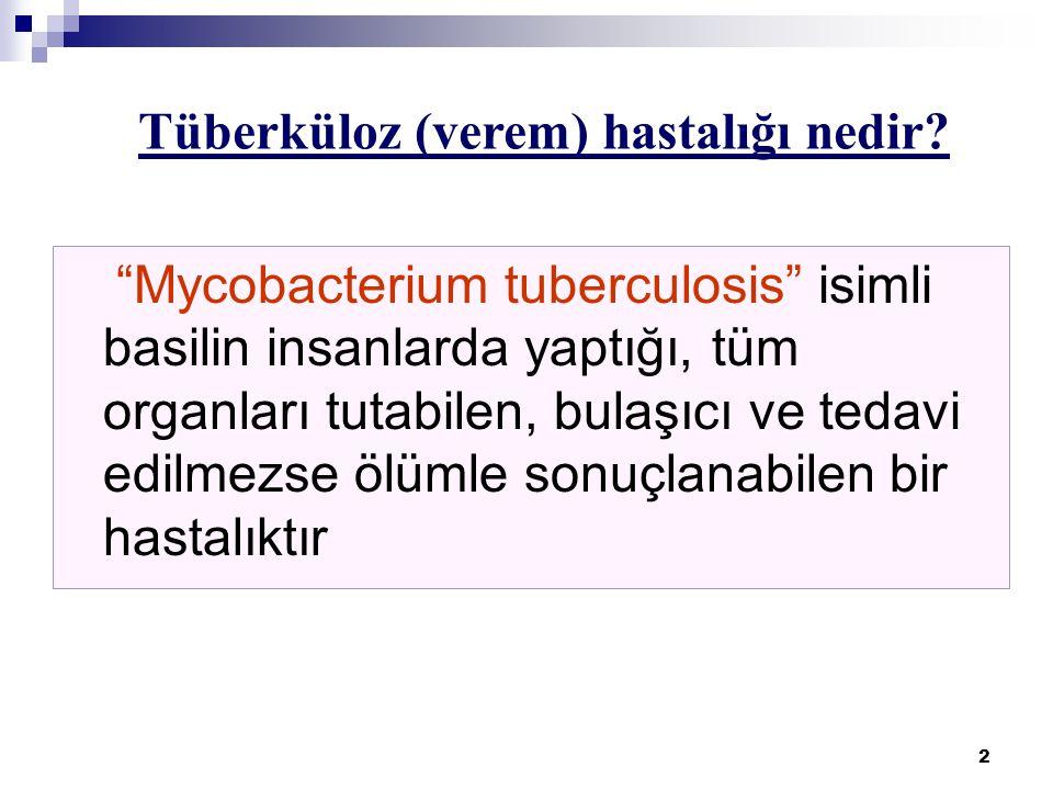 2 Mycobacterium tuberculosis isimli basilin insanlarda yaptığı, tüm organları tutabilen, bulaşıcı ve tedavi edilmezse ölümle sonuçlanabilen bir hastalıktır Tüberküloz (verem) hastalığı nedir?