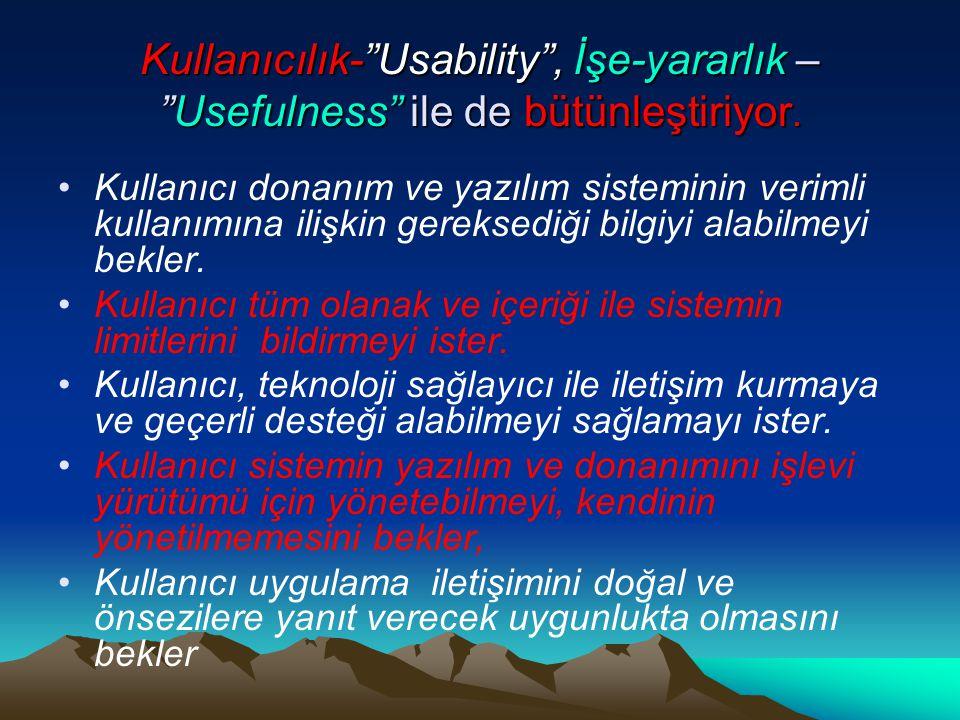 """Kullanıcılık-""""Usability"""", İşe-yararlık – """"Usefulness"""" ile de bütünleştiriyor. Kullanıcı donanım ve yazılım sisteminin verimli kullanımına ilişkin gere"""
