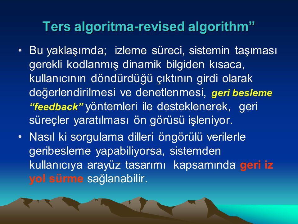 """Ters algoritma-revised algorithm"""" Bu yaklaşımda; izleme süreci, sistemin taşıması gerekli kodlanmış dinamik bilgiden kısaca, kullanıcının döndürdüğü ç"""