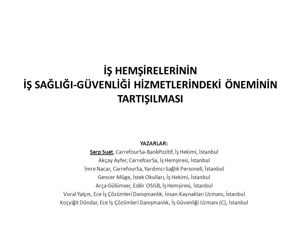 İŞ HEMŞİRELERİNİN İŞ SAĞLIĞI-GÜVENLİĞİ HİZMETLERİNDEKİ ÖNEMİNİN TARTIŞILMASI YAZARLAR: Sarp Suat, CarrefourSa-BankPozitif, İş Hekimi, İstanbul Akçay Ayfer, CarrefourSa, İş Hemşiresi, İstanbul İmre Nacar, CarrefourSa, Yardımcı Sağlık Personeli, İstanbul Gencer Müge, İstek Okulları, İş Hekimi, İstanbul Arça Gülümser, EsBir OSGB, İş Hemşiresi, İstanbul Vural Yalçın, Ece İş Çözümleri Danışmanlık, İnsan Kaynakları Uzmanı, İstanbul Koçyiğit Dündar, Ece İş Çözümleri Danışmanlık, İş Güvenliği Uzmanı (C), İstanbul