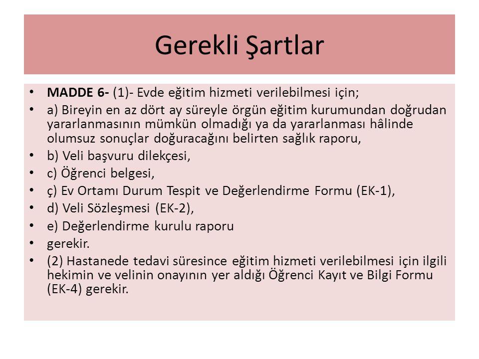 Gerekli Şartlar MADDE 6- (1)- Evde eğitim hizmeti verilebilmesi için; a) Bireyin en az dört ay süreyle örgün eğitim kurumundan doğrudan yararlanmasını