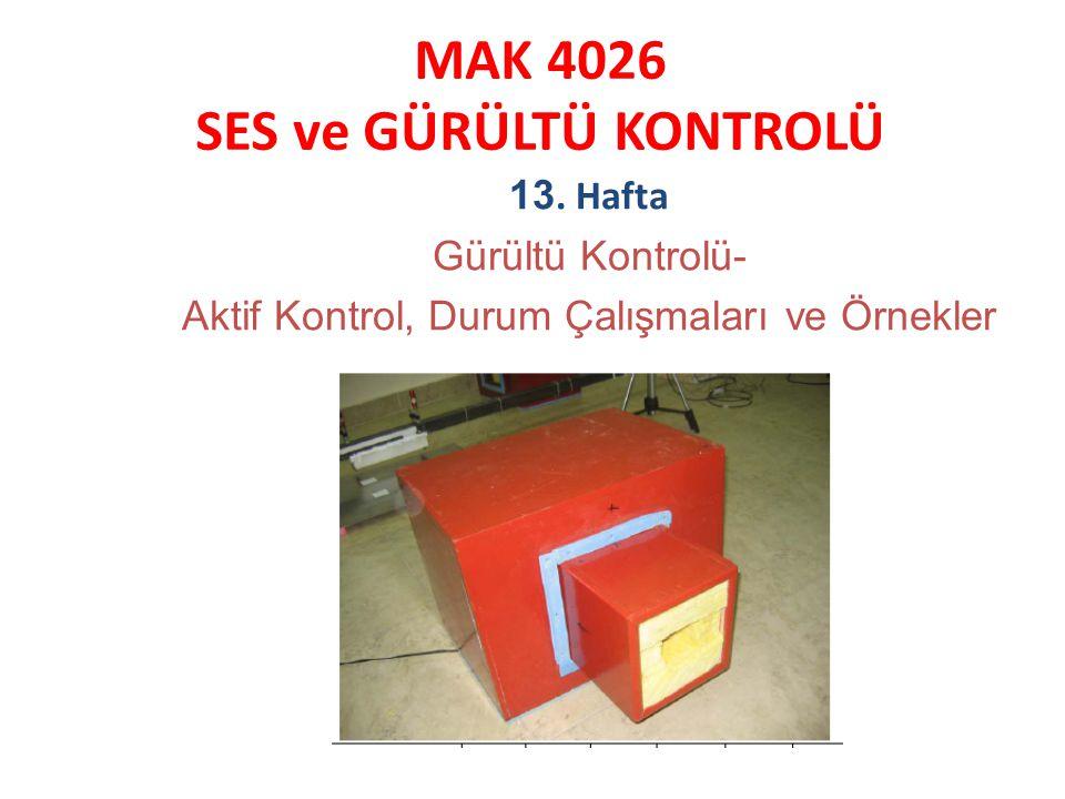 MAK 4026 SES ve GÜRÜLTÜ KONTROLÜ 13. Hafta Gürültü Kontrolü- Aktif Kontrol, Durum Çalışmaları ve Örnekler