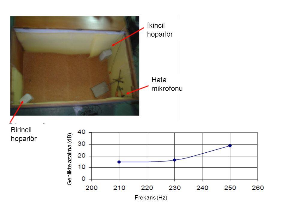İkincil hoparlör Hata mikrofonu Birincil hoparlör Frekans (Hz) Genlikte azalma (dB)