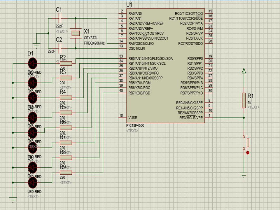 Soru 3: PORTB.0 – PORTB.7 pinleri arası 8 adet LED bağlıdır.