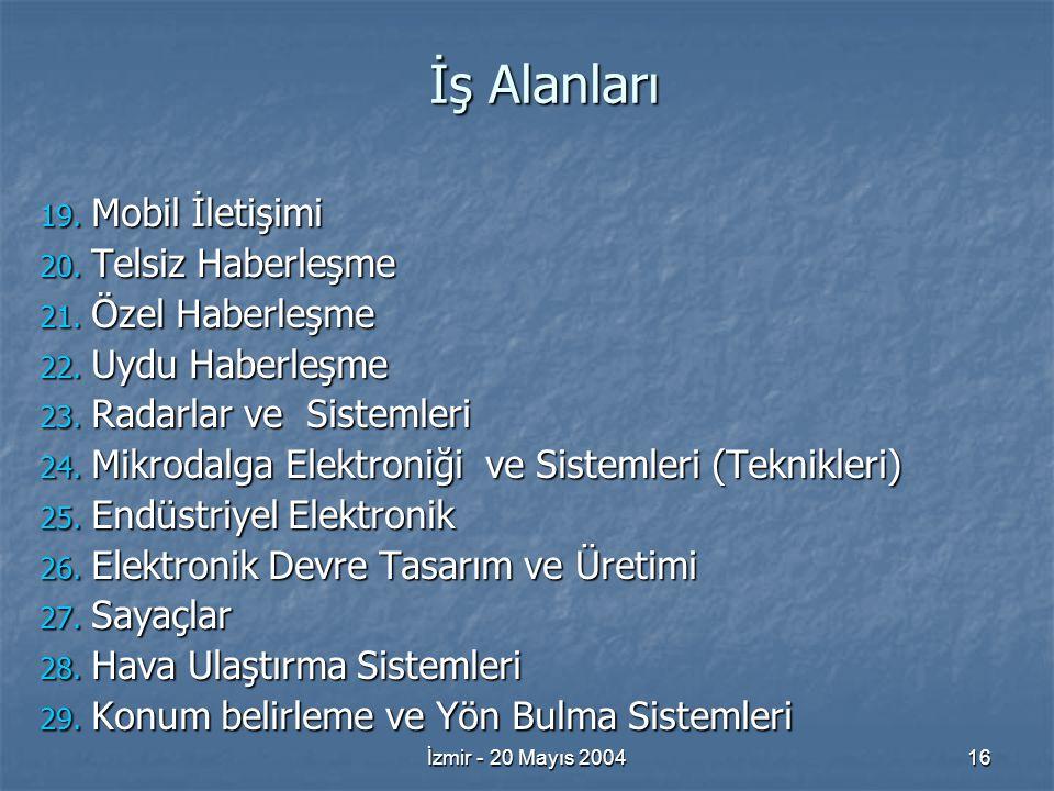 İzmir - 20 Mayıs 200416 İş Alanları 19. Mobil İletişimi 20.