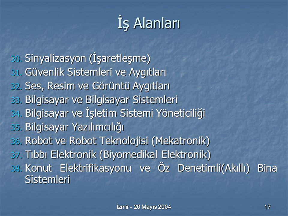 İzmir - 20 Mayıs 200417 İş Alanları 30. Sinyalizasyon (İşaretleşme) 31.