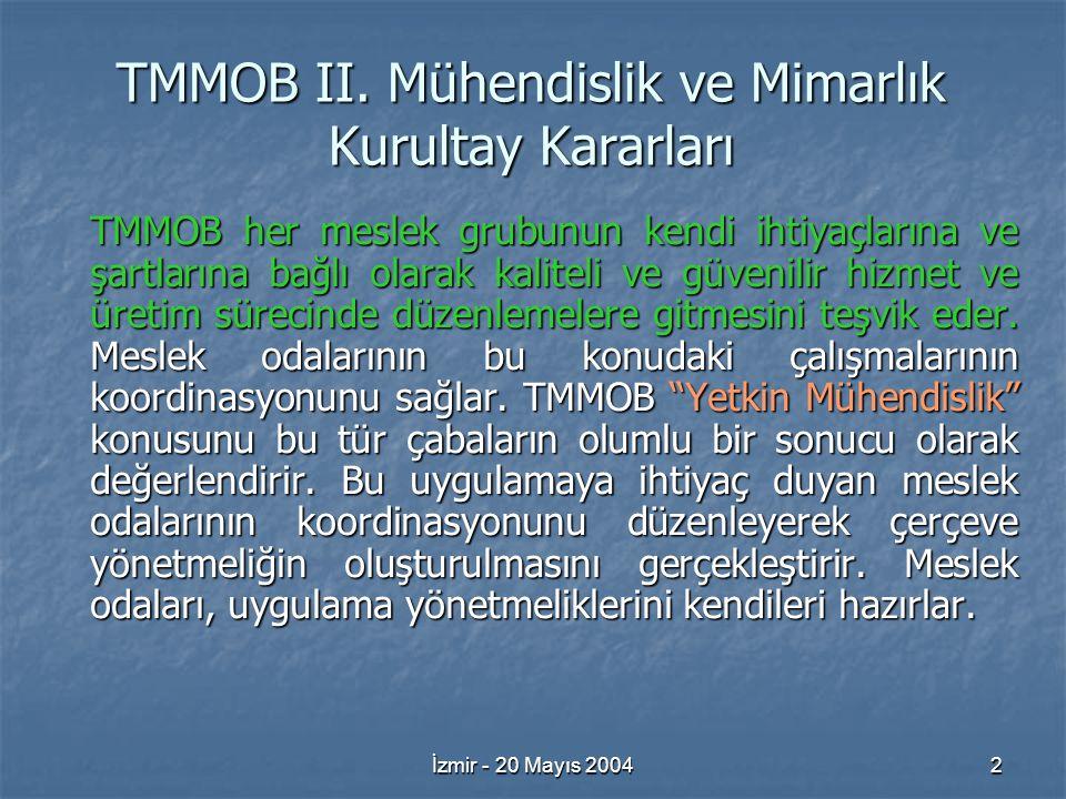 İzmir - 20 Mayıs 200433 İş Alanları ve Tanımları Çalışma Grubu
