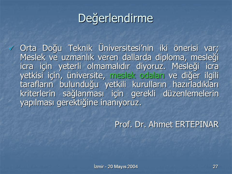İzmir - 20 Mayıs 200427 Değerlendirme Orta Doğu Teknik Üniversitesi'nin iki önerisi var; Meslek ve uzmanlık veren dallarda diploma, mesleği icra için yeterli olmamalıdır diyoruz.