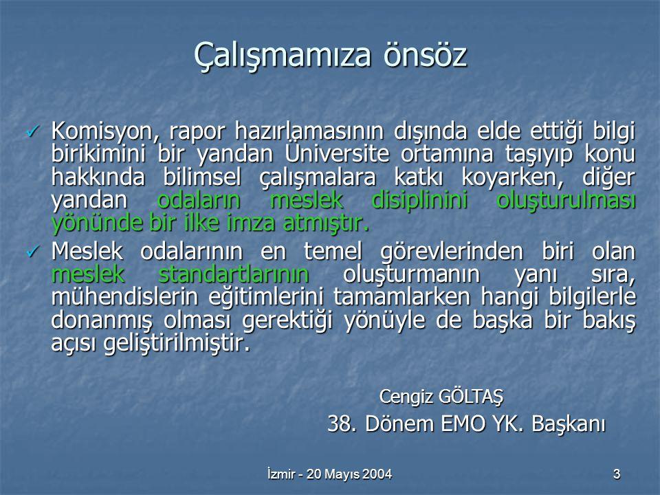 İzmir - 20 Mayıs 20043 Çalışmamıza önsöz Komisyon, rapor hazırlamasının dışında elde ettiği bilgi birikimini bir yandan Üniversite ortamına taşıyıp konu hakkında bilimsel çalışmalara katkı koyarken, diğer yandan odaların meslek disiplinini oluşturulması yönünde bir ilke imza atmıştır.
