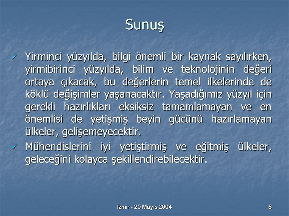 İzmir - 20 Mayıs 20046 Sunuş Yirminci yüzyılda, bilgi önemli bir kaynak sayılırken, yirmibirinci yüzyılda, bilim ve teknolojinin değeri ortaya çıkacak, bu değerlerin temel ilkelerinde de köklü değişimler yaşanacaktır.