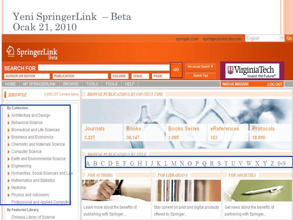 Yeni SpringerLink – Beta Ocak 21, 2010