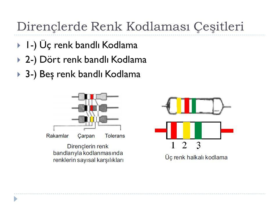 Dirençlerde Renk Kodlaması Çeşitleri  1-) Üç renk bandlı Kodlama  2-) Dört renk bandlı Kodlama  3-) Beş renk bandlı Kodlama